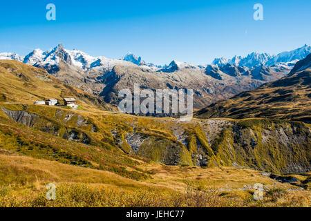 Aiguilles Rouges, Mont Blanc and Refuge de Moede d Anterne in autumn,  Chamonix, France - Stock Photo