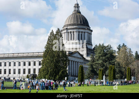 Tax Day 2017 protest march beginning at the Washington State Capitol building; Olympia, Washington, United States - Stock Photo