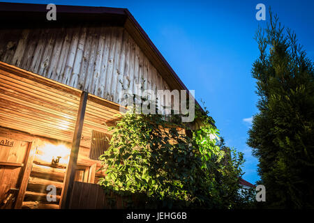 Yard wooden building close-up as an abstraction. - Stock Photo