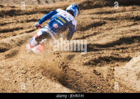 OTTOBIANO, ITALY - JUNE 24, 2017: MXGP, EMX and MX2 riders race during the italian MXGP World Championship 2017 - Stock Photo