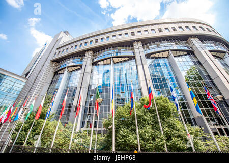 European parliament building in Brussels - Stock Photo