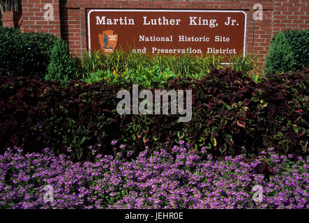 Entrance sign, Martin Luther King Jr. National Historic Site, Atlanta, Georgia - Stock Photo