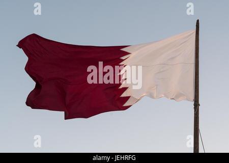 Qatari flag - Stock Photo