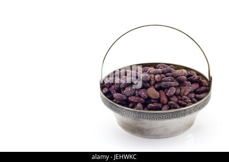 Raw red bean in silver bowl and on white background - Stock Photo