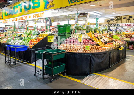 Adelaide, Australia - November 12, 2016: People shopping at Adelaide Central Market on a weekend. It is a popular - Stock Photo