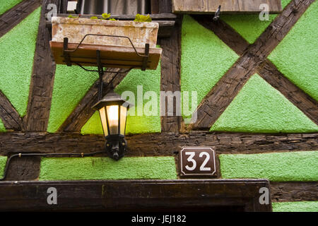half-timbered house, Detail, Riquewihr, France - Stock Photo