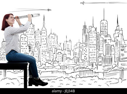 Smiling young businesswoman,student looking far away in future.Future concept with a drawing city over white background. - Stock Photo