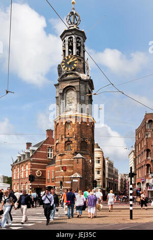 """AMSTERDAM – JULY 21, 2009. The """"Munt"""".  The tower was originally part of one of the main gates in Amsterdam's medieval - Stock Photo"""
