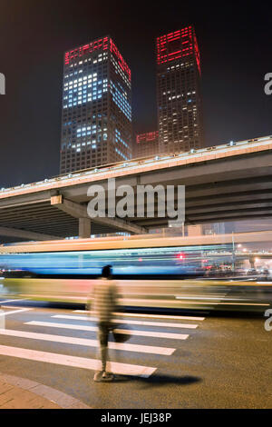 BEIJING-OCT. 24. Elevated third ring-road with Yintai towers in Central Business District. Tower II is a 63 floors, - Stock Photo