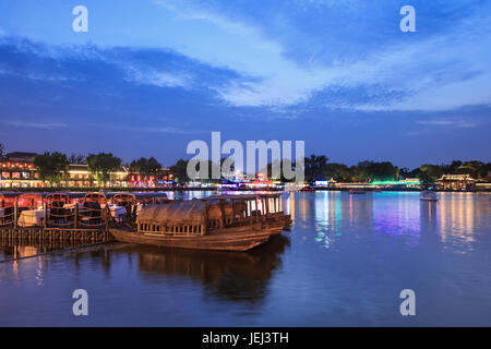 BEIJING-AUGUST 14, 2016. Houhai Lake area at twilight. It is very popular among foreign tourists visiting Beijing - Stock Photo