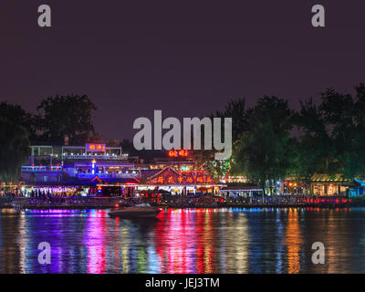 BEIJING-AUGUST 14, 2016. Houhai Lake area at nighttime. It is very popular among foreign tourists visiting Beijing - Stock Photo