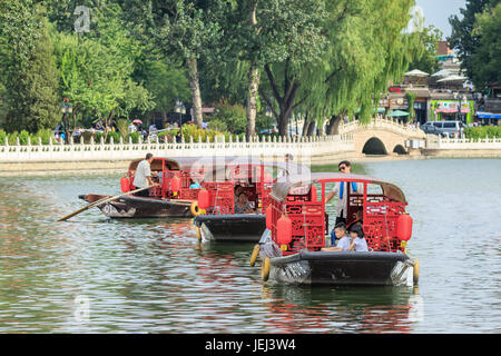 BEIJING-AUGUST 14, 2016. Houhai Lake during tourist season. It is very popular among foreign tourists visiting Beijing - Stock Photo