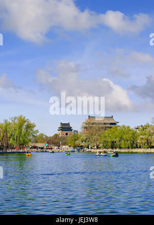 BEIJING-APRIL 14, 2007. Paddle boats on Houhai Lake. It is very popular among foreign tourists visiting Beijing - Stock Photo