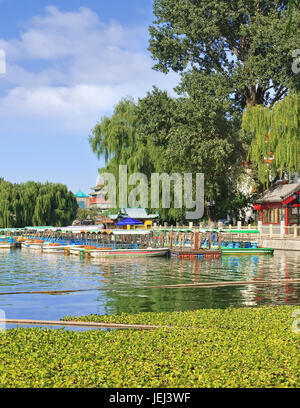 Houhai Lake in the old city center on a sunny day, Beijing, China - Stock Photo