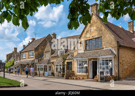High Street Shops in Broadway, Cotswolds, UK - Stock Photo