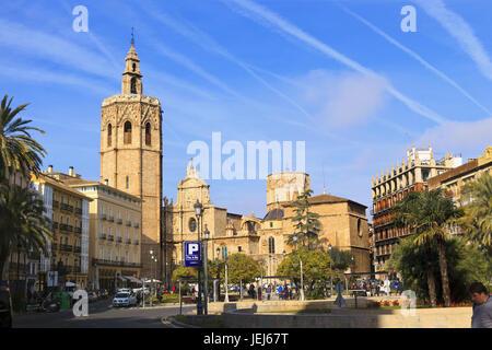 Plaza de la Reina and Cathedral in Valencia - Stock Photo