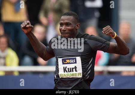 Ratingen, Germany. 25th June, 2017. Kurt Felix of Grenada is happy about his successful throw at the javelin throwing - Stock Photo