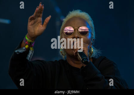 Glastonbury, UK. 25th June, 2017. The sun sets on the 2017 Glastonbury Festival as Emeli Sande plays the other Stage, - Stock Photo