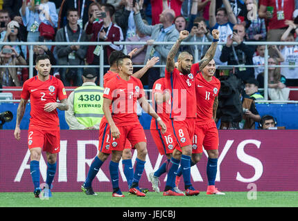 Moscow, Russia. 25th June, 2017. Team Chile celebrate a goal during the FIFA Confederations Cup 2017 football match - Stock Photo