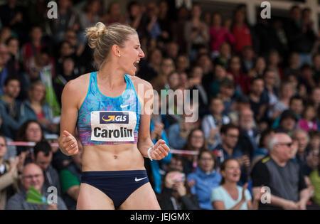 Ratingen, Germany. 25th June, 2017. Carolin Schaefer cheers during the long jump discipline of the women's heptathlon - Stock Photo