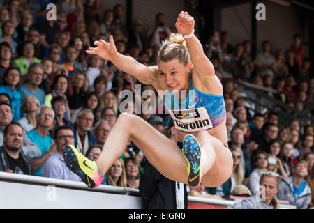 Ratingen, Germany. 25th June, 2017. Carolin Schaefer during the long jump discipline of the women's heptathlon at - Stock Photo