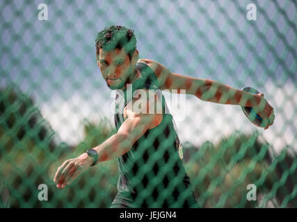 Ratingen, Germany. 25th June, 2017. Basile Rolnin from France during the discus throw discipline of the men's decathlon - Stock Photo