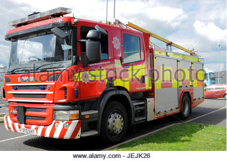 Cambuslang, UK. 26th June, 2017.  Fire appliance at the media launch of The Scottish Parliament's Economy, Jobs - Stock Photo