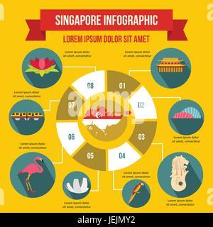 Singapore infographic concept, flat style - Stock Photo