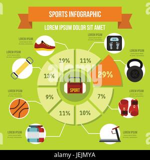 Sport equipment infographic concept, flat style - Stock Photo