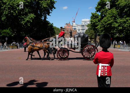 Horse Drawn Carriage in front of St. James Park during the Trooping of the Colour Ceremony - Stock Photo