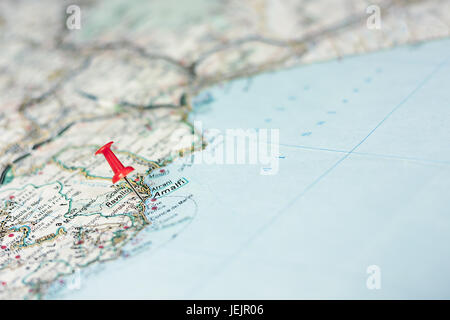 Amalfi on the map - Stock Photo