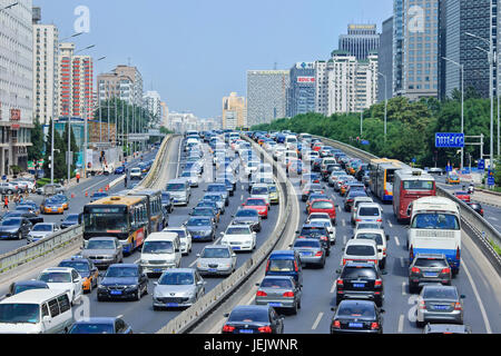 BEIJING-AUG. 24. Traffic jam at 2th ring road. Beijing has been notorious for serious traffic congestion for so - Stock Photo