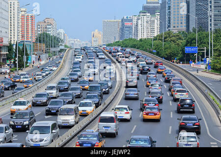BEIJING-AUG. 24. Traffic jam at 2th ring road. Beijing has currently 5.53 million cars, an increase of 330,000 vehicles - Stock Photo