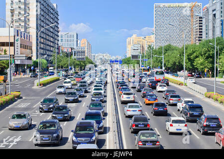 BEIJING-AUG. 24. Traffic jam at 2th ring road. The average weekday congestion time in first half year was 100 minutes, - Stock Photo