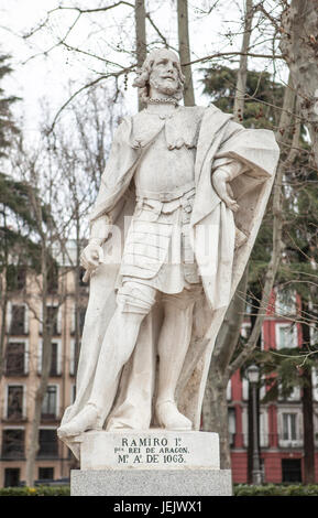 Madrid, Spain - february 26, 2017: Sculpture of Ramiro I of Aragon at Plaza de Oriente, Madrid. He was the first - Stock Photo