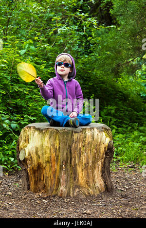 Young boy sitting on a tree stump and waving a leaf - Stock Photo