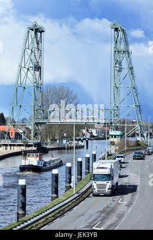 WADDINXVEEN-HOLLAND-MARCH 13. Famous bridge on the Gouwe canal. It is a national monument built in 1935-1936 by - Stock Photo