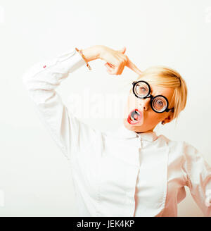 bookworm, cute young blond woman in glasses, blond hair, teenage - Stock Photo