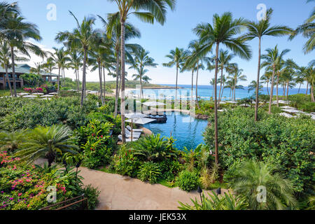 A 2017 view of Hulopoe Beach from the newly renovated Four Seasons Resort Lanai at Manele Bay, Lanai, Hawaii.