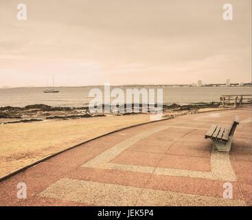 Lonely Boardwalk in Punta del Este - Stock Photo