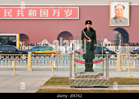 BEIJING – DEC. 26, 2011. Honor guard at Tiananmen on Dec. 26, 2011. Honor guards are provided by the People's Liberation - Stock Photo