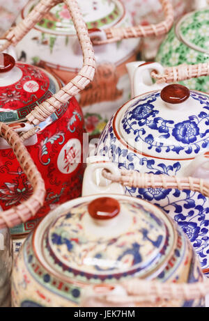 Decorated teapots on Panjiayuan Market, located in south east Beijing, China - Stock Photo