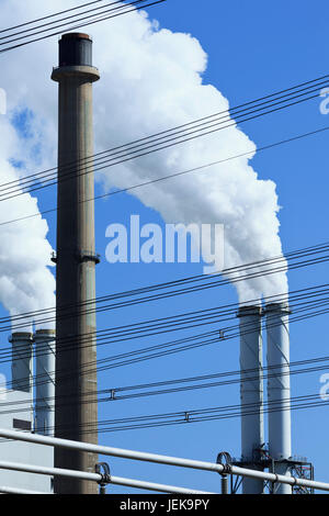 EON power plant in Rotterdam with two coal-fired units of 550 MW operating according conventional steam cycle with - Stock Photo