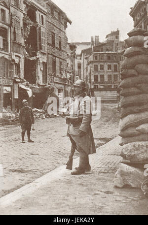 A corner of Verdun during German bombardment, WW 1, 1916 - Stock Photo