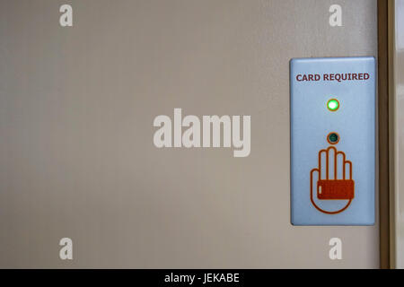 Modern security system lock on door - Stock Photo
