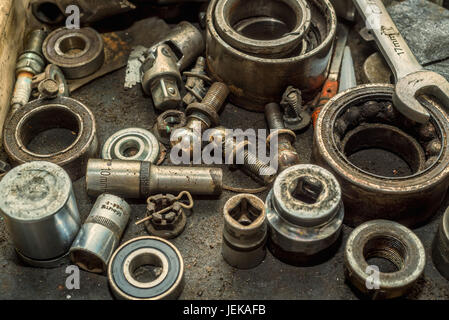 Old nuts and bolts background - Stock Photo