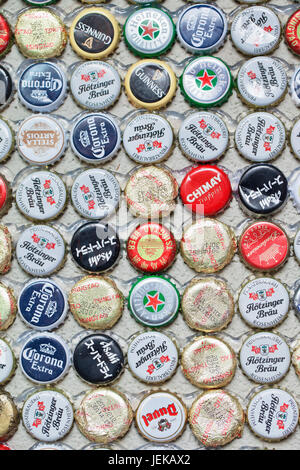 Beer bottle caps collection. Beer sales in China rose 29 percent between 2006 and 2011 to 50 billion liters, more - Stock Photo