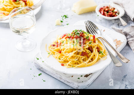 Italian pasta Carbonara - Stock Photo