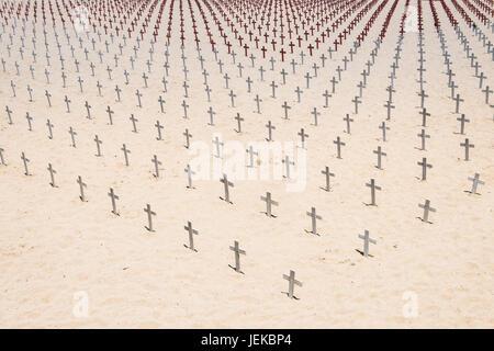 Crosses on the beach, Santa Monica, California, America, USA - Stock Photo