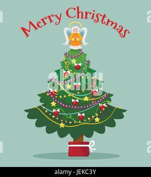 Christmas tree with topper fairy card. Xmas trees light angel vector illustration - Stock Photo